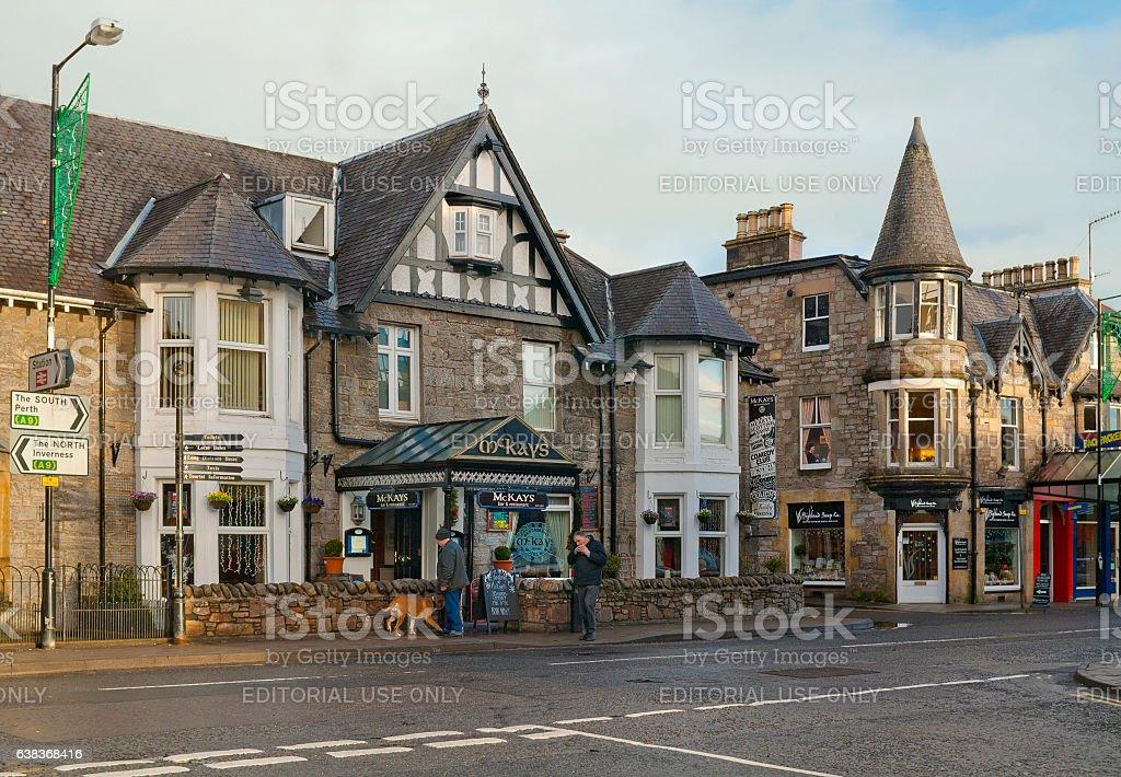 Street in Pitlochry, Scotland stock photo