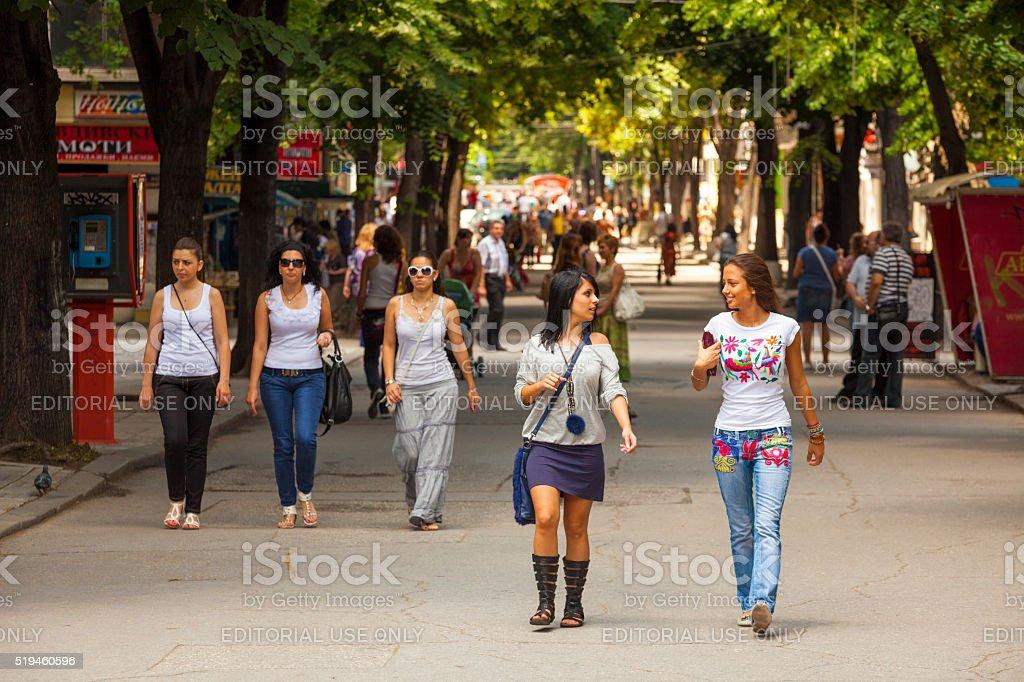 Street in Plovdiv, Bulgaria stock photo