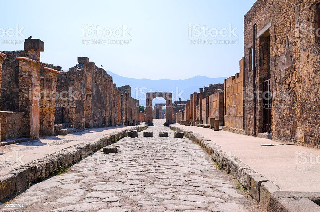 Street in Pompeii stock photo
