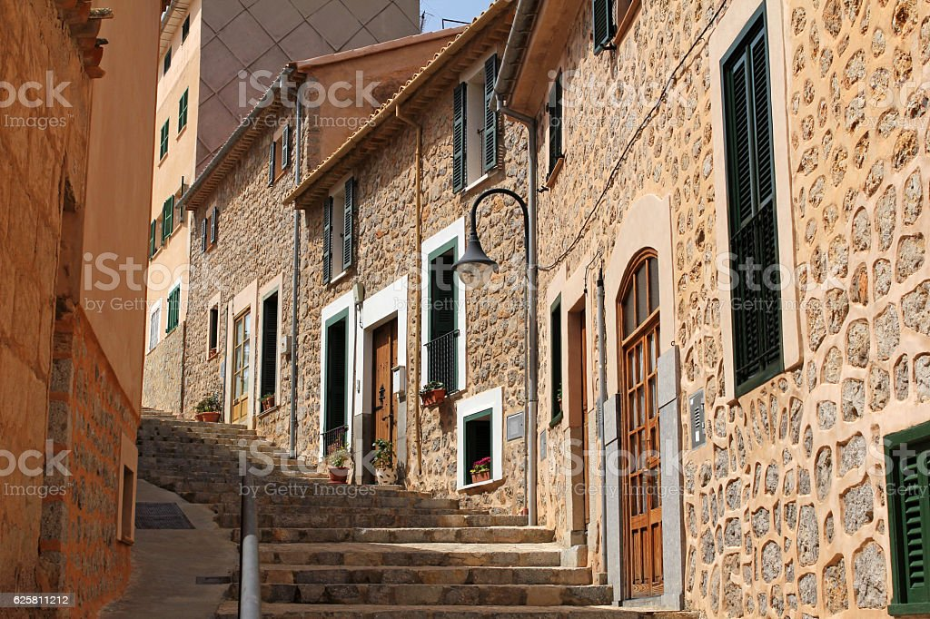 street in Port de Soller, Majorca, Spain stock photo