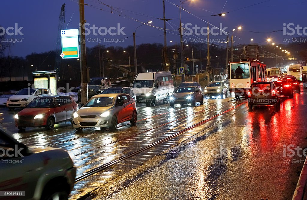 street in rainy evening in Moscow stock photo