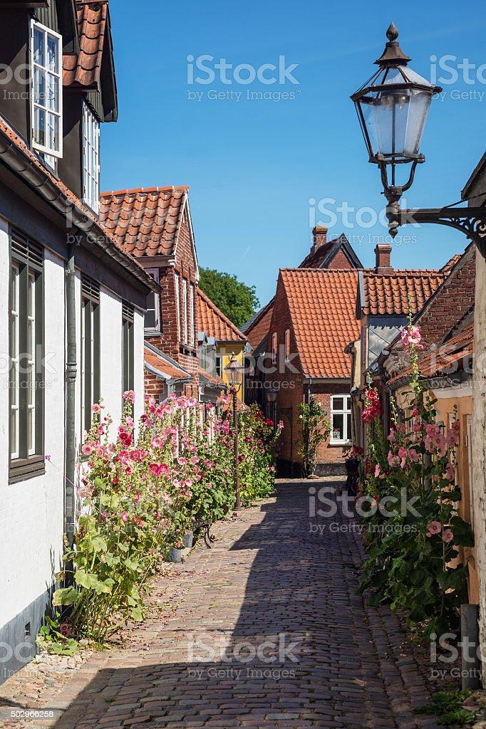 Street in Ribe, Southern Jutland, Denmark stock photo