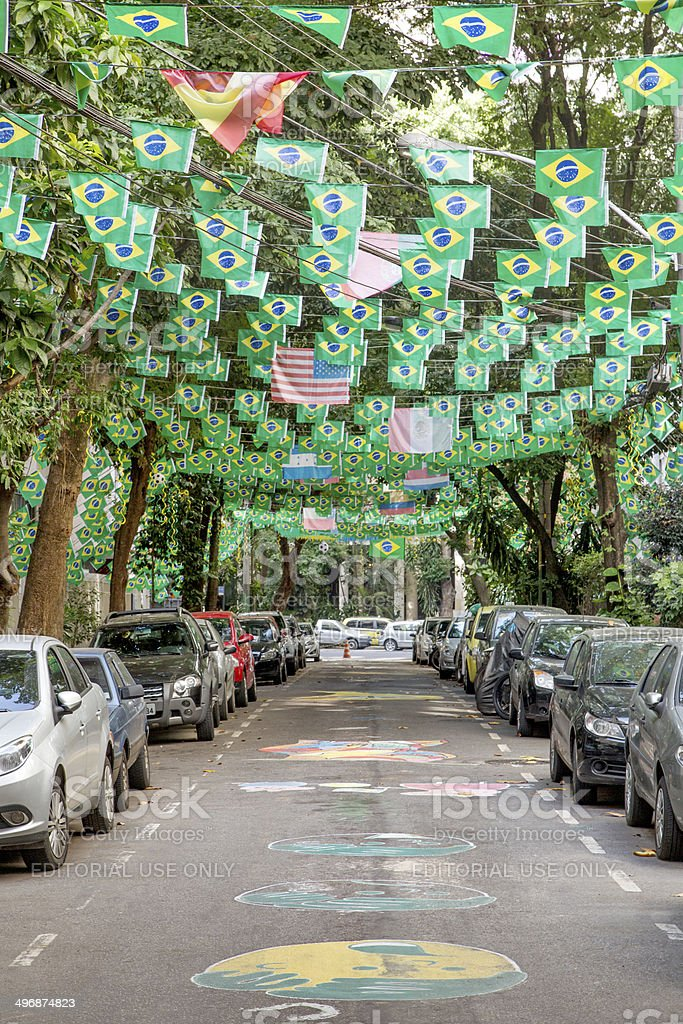 Street in Rio decorated for the World Cup 2014 royalty-free stock photo