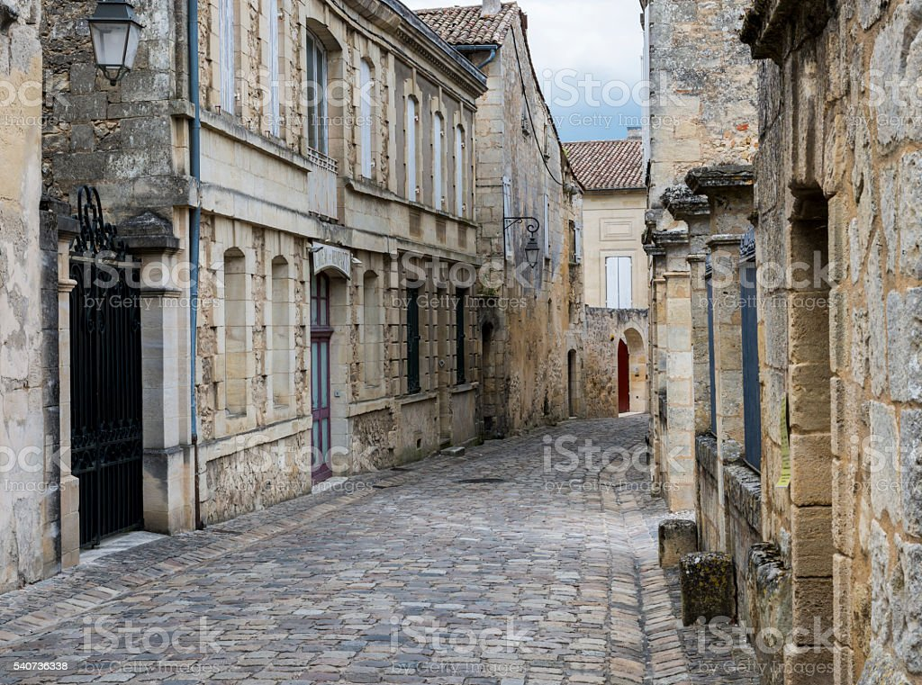 Street in Saint-Emilion stock photo