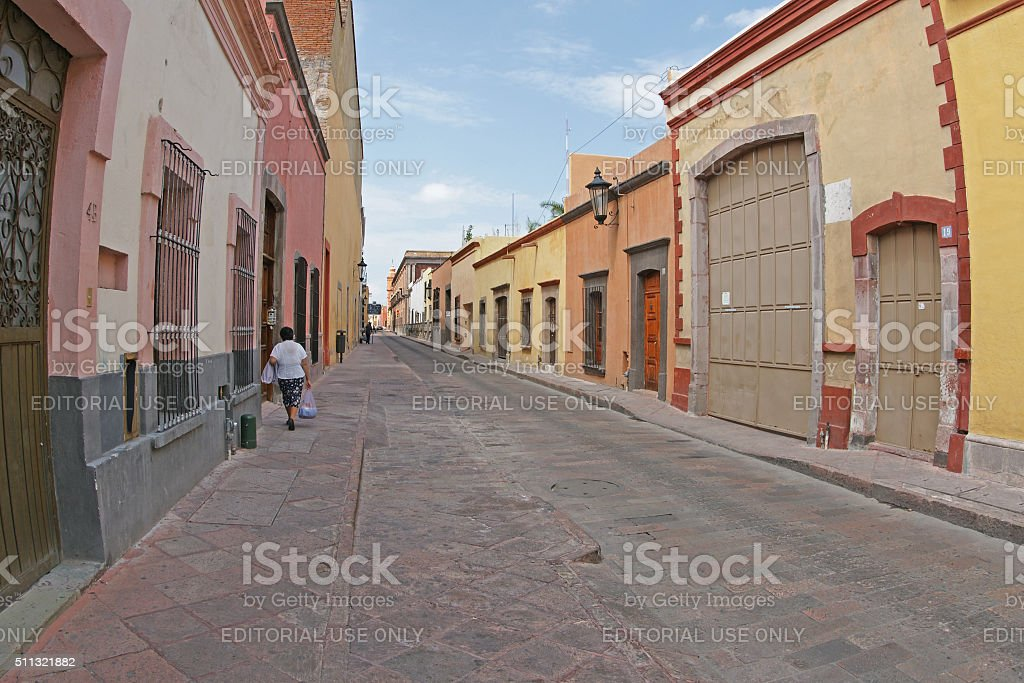Street in Santiago de Queretaro city in Mexico stock photo