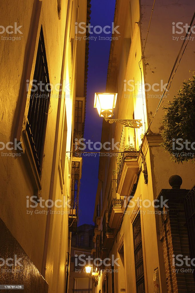 Street in Seville at night royalty-free stock photo