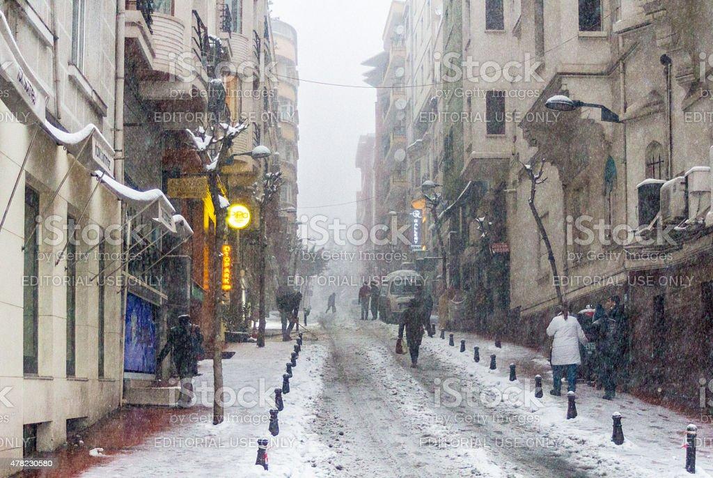 Street In Snow stock photo