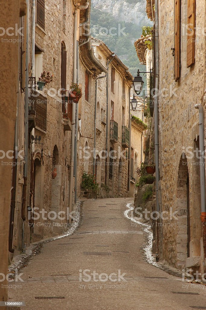Street in St Guilhem, France royalty-free stock photo
