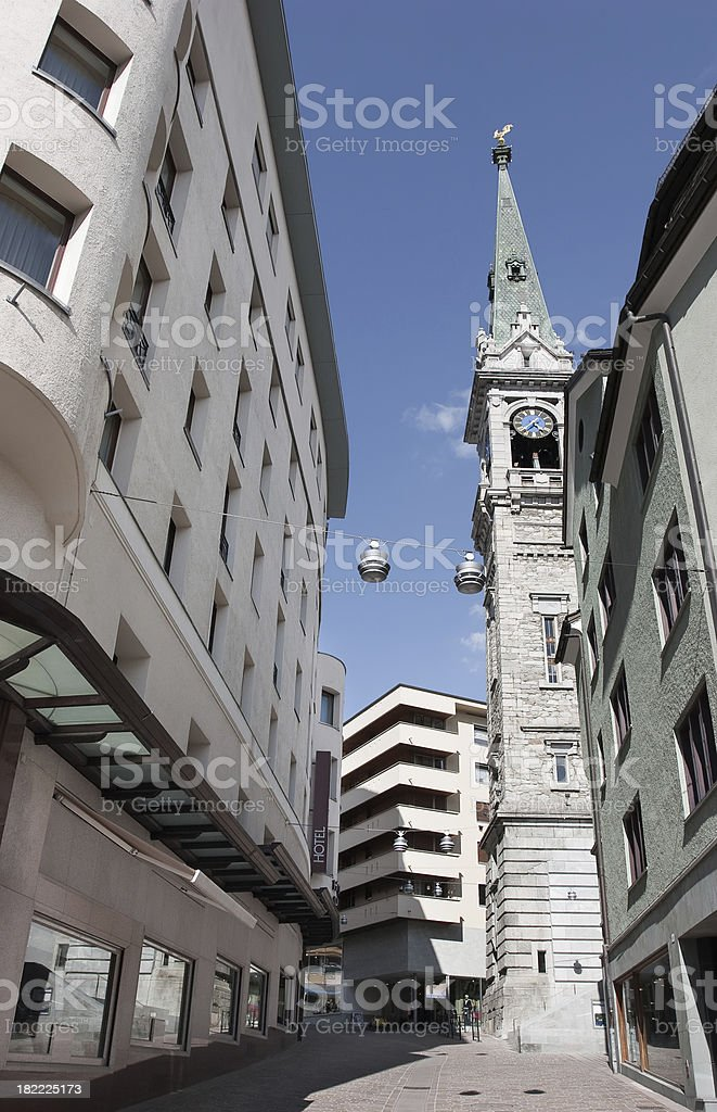 Street In St. Moritz royalty-free stock photo
