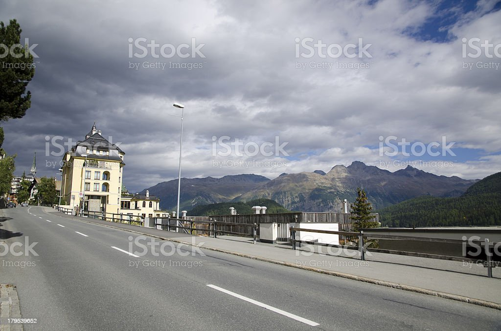 Street in st Moritz Switzerland royalty-free stock photo