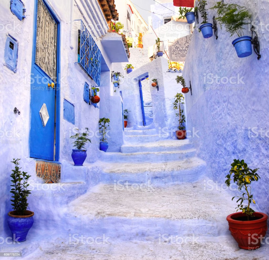 Street in the blue city Chefchaouen, Morocco stock photo