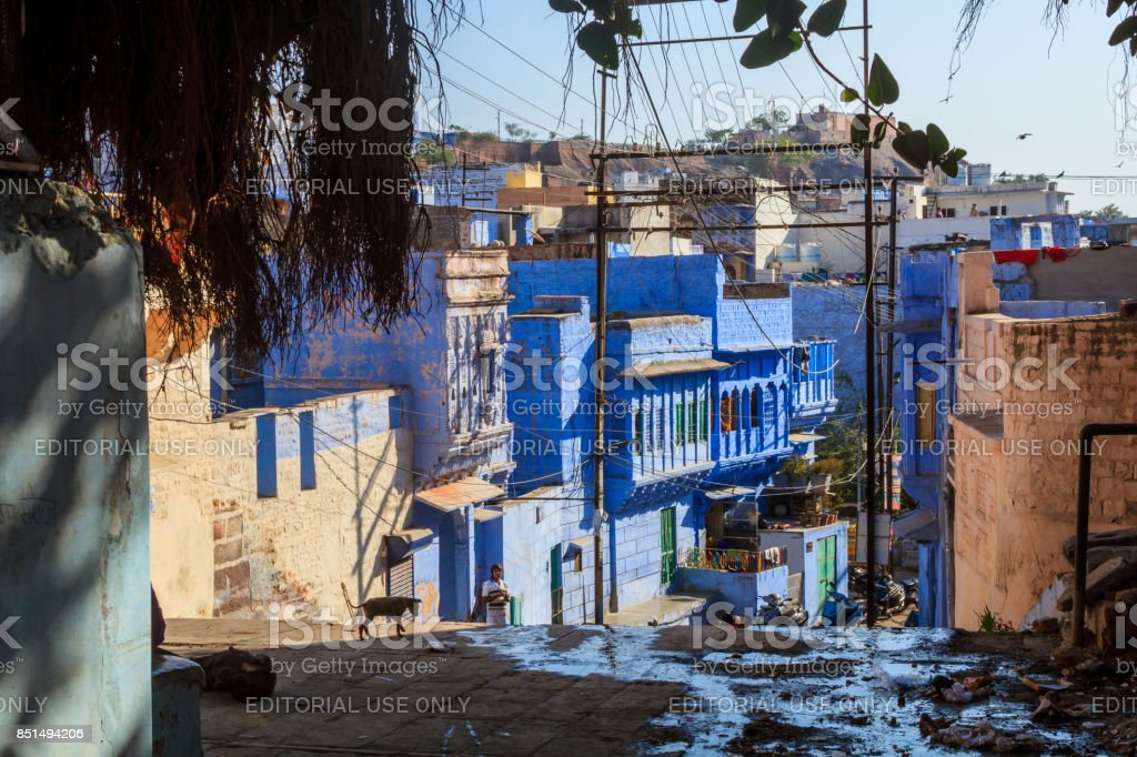 Street in the Blue CIty stock photo
