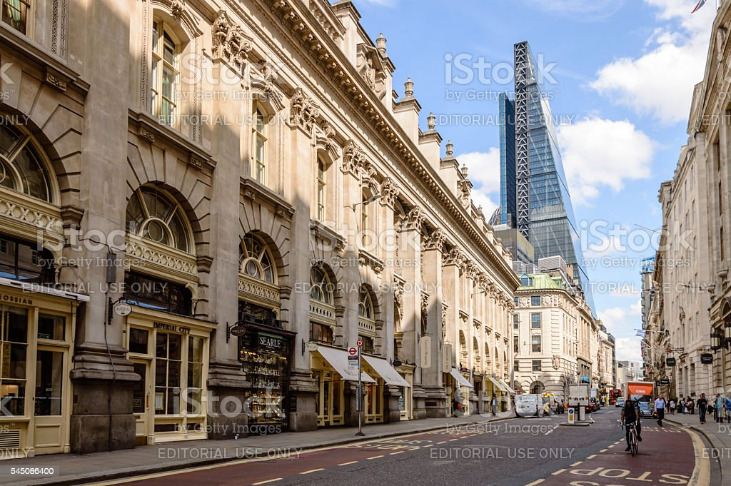 Street in the City of London stock photo
