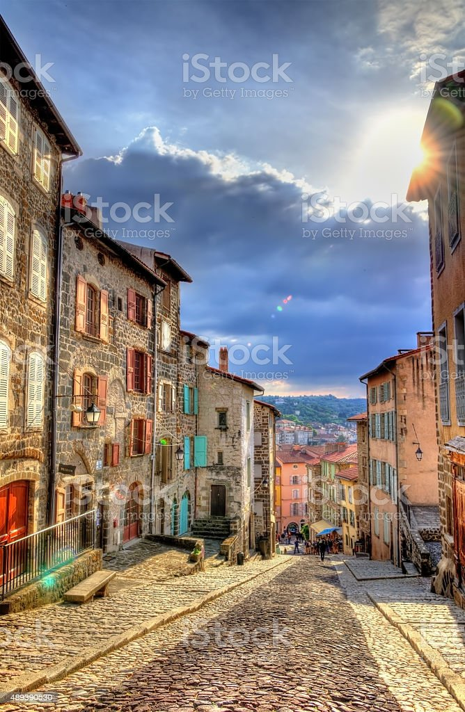 Street in the historic centre of Le Puy-en-Velay - France stock photo