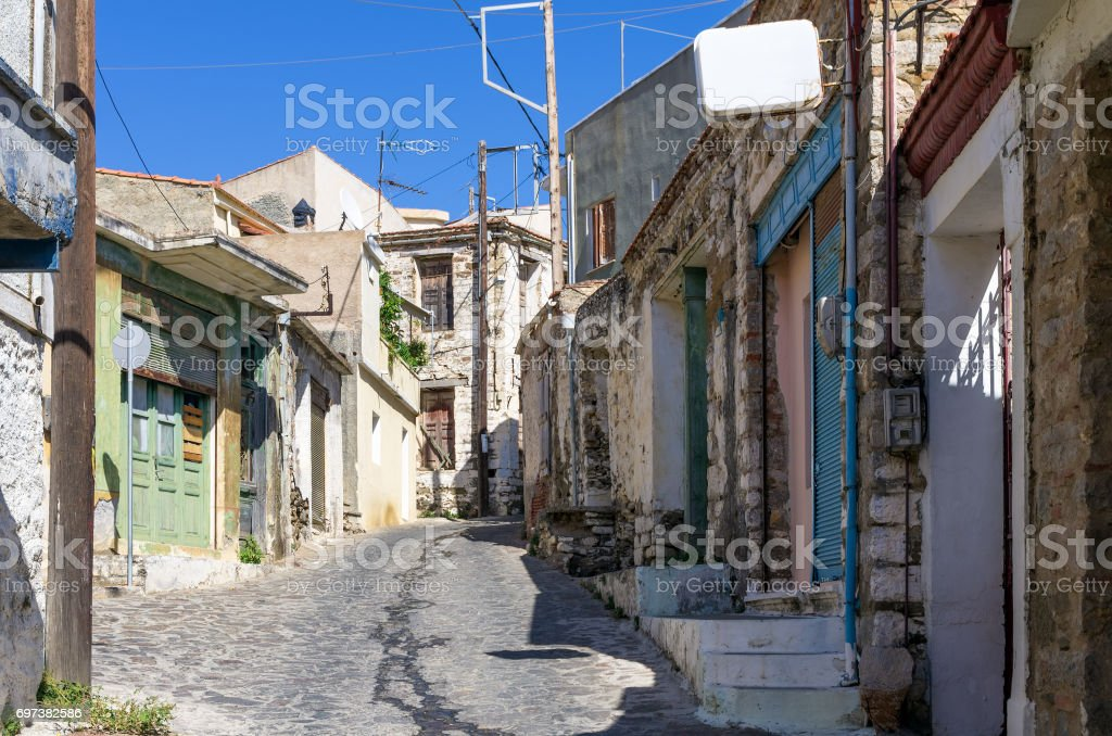 Street in the historic village of Volissos, Chios island, Greece stock photo