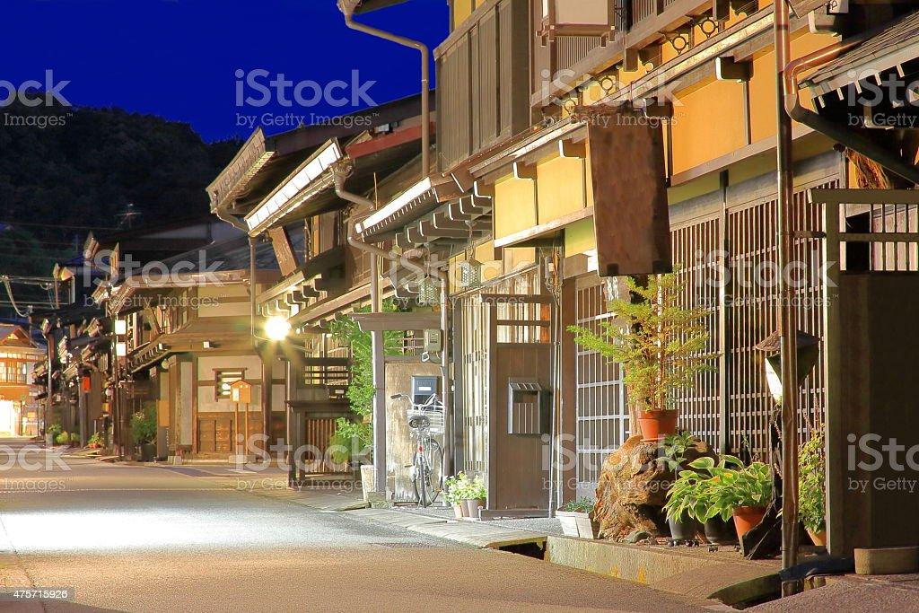 Street in the old area at night. Takayama-Japan. 0002 stock photo
