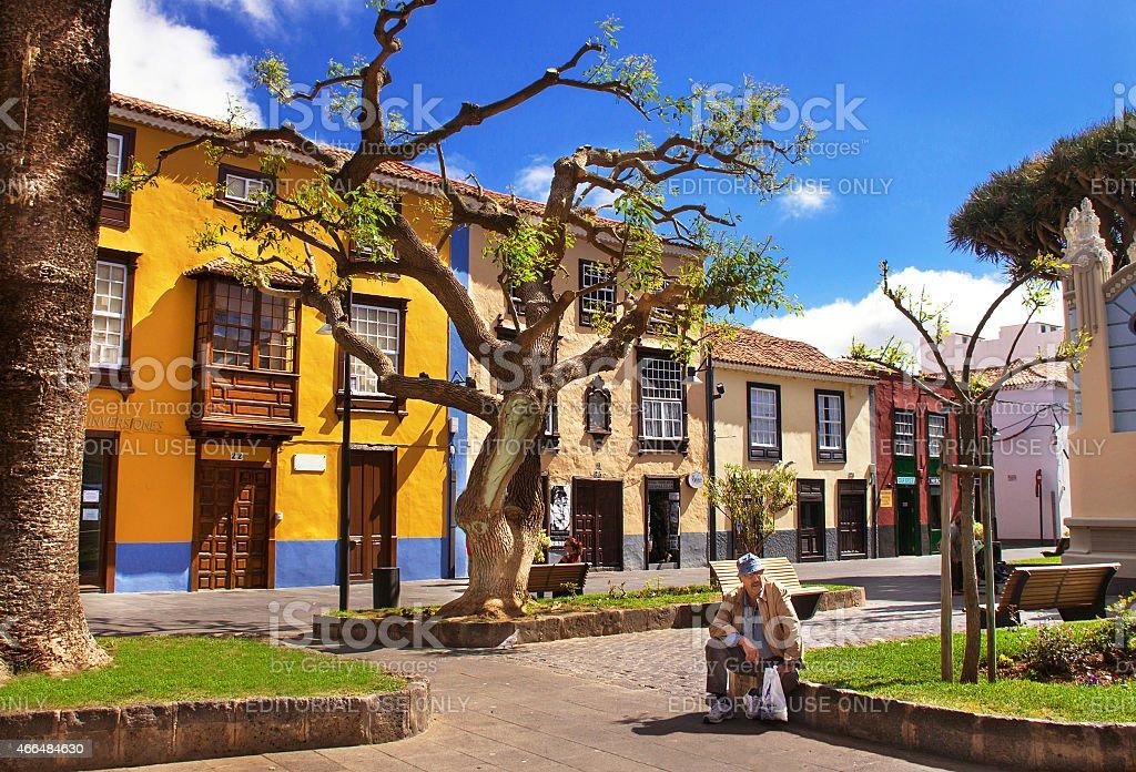 Street in the old capital of Tenerife – La Laguna. stock photo