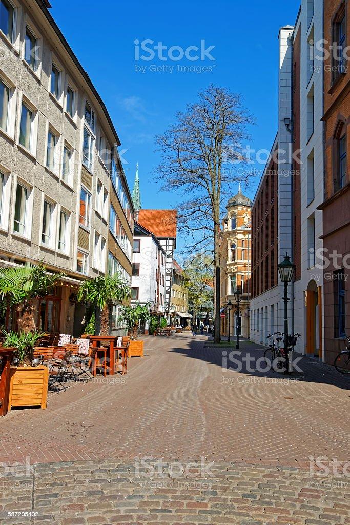 Street in the Old City center in Hanover stock photo