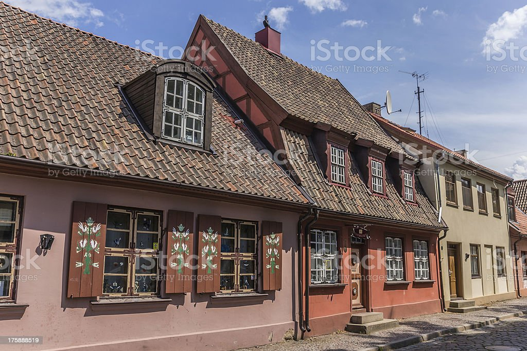 Street in the old part of Klaipeda, Lithuania stock photo