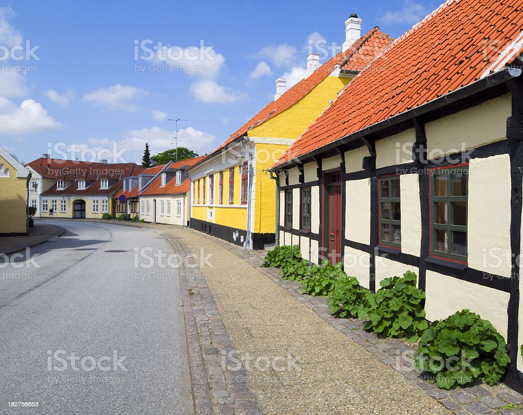 Street in the old part of Saeby stock photo