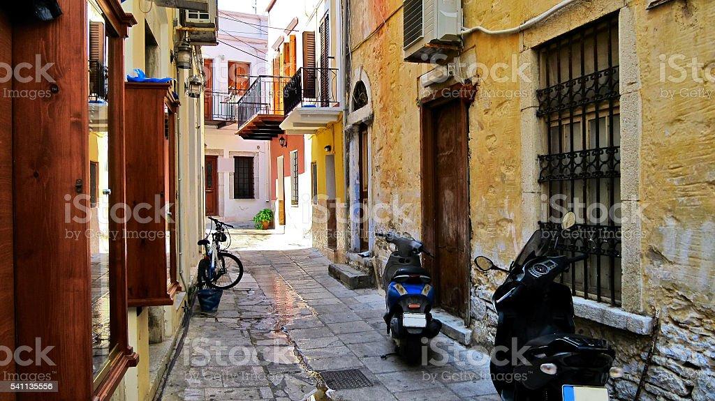 street in the old Symi stock photo