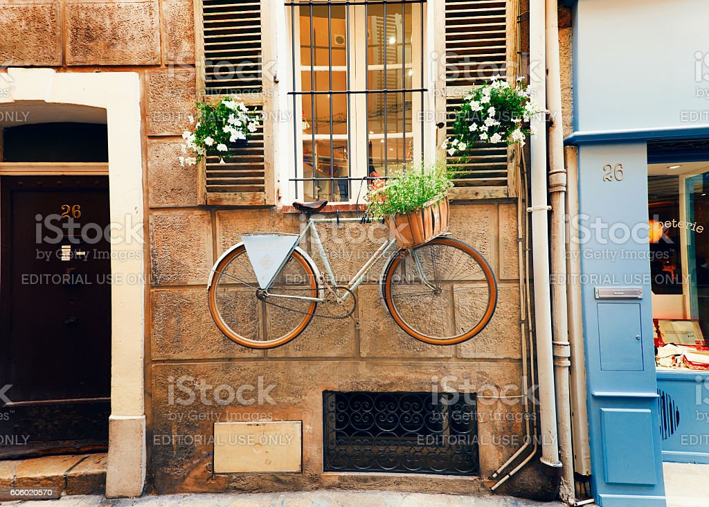 Street in the old town Antibes in France. stock photo