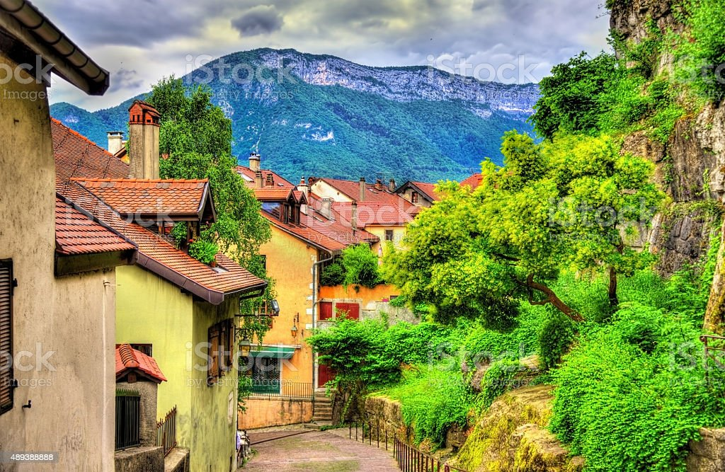 Street in the old town of Annecy - France stock photo