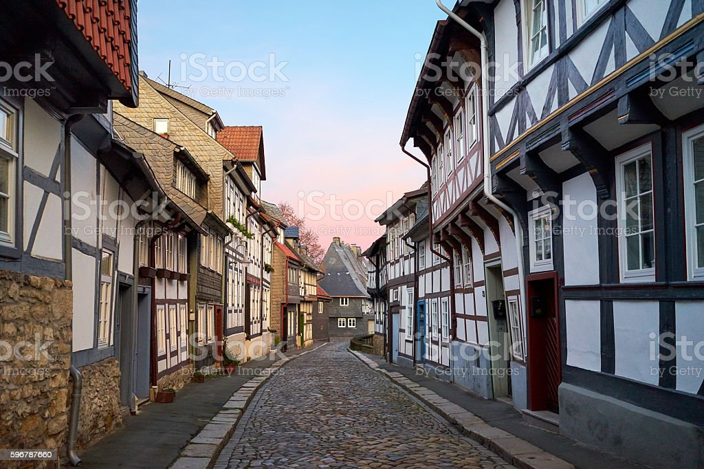 Street in the Old town of Gorlar, Lower Saxony, Germany. stock photo