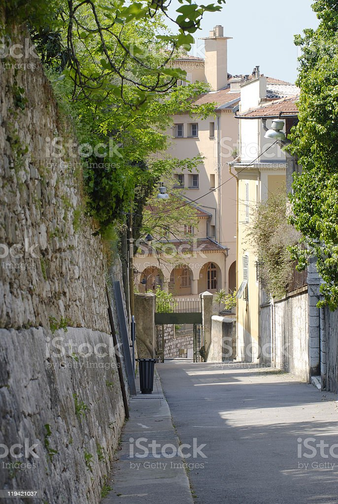 Street in the Old Town of Nice. Cote d'Azur. France royalty-free stock photo