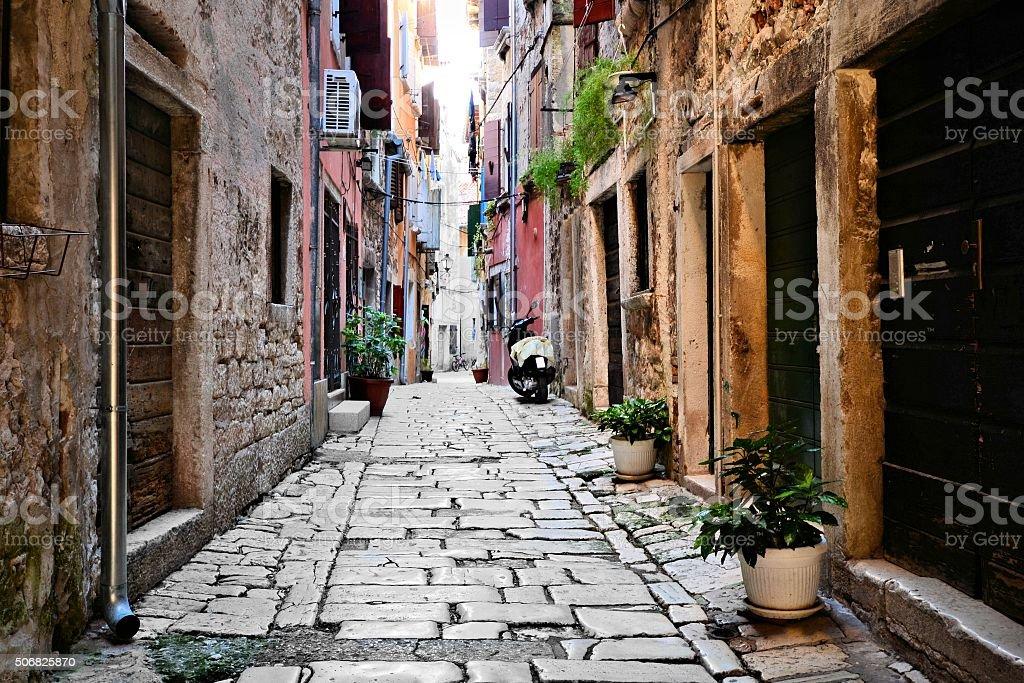Street in the old town of Rovijn, Croatia stock photo