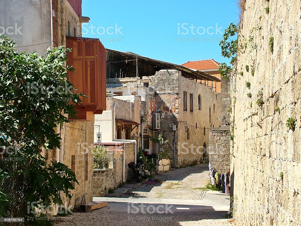 Street in the old town Rhodes, Greece stock photo