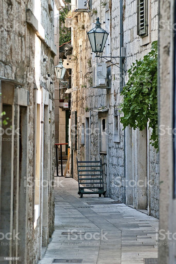 street in the small town, Croatia stock photo