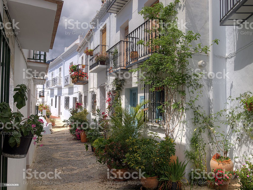 Street in the town of Frigiliana, Spain royalty-free stock photo