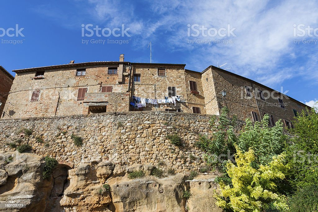 Street in the town of Pienza, Tuscany, Italy stock photo