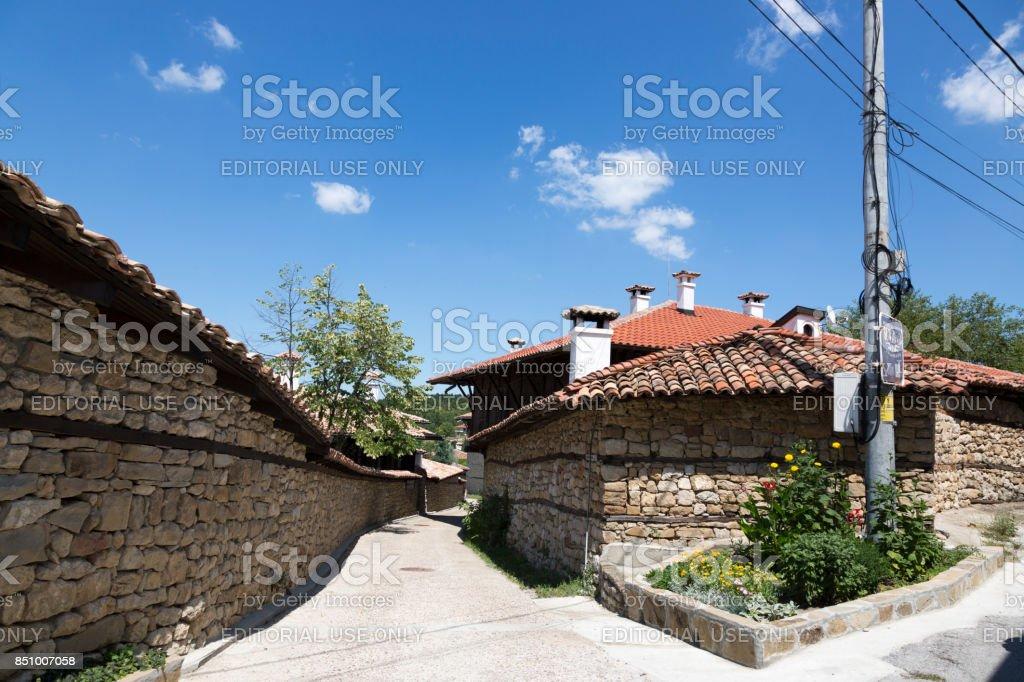Street in the village of Arbanasi (Veliko Tarnovo), Bulgaria. stock photo