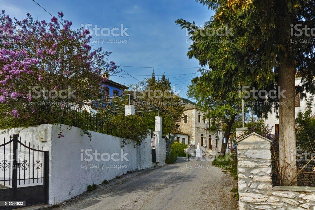 Street in the village of Theologos, Thassos island, Greece stock photo