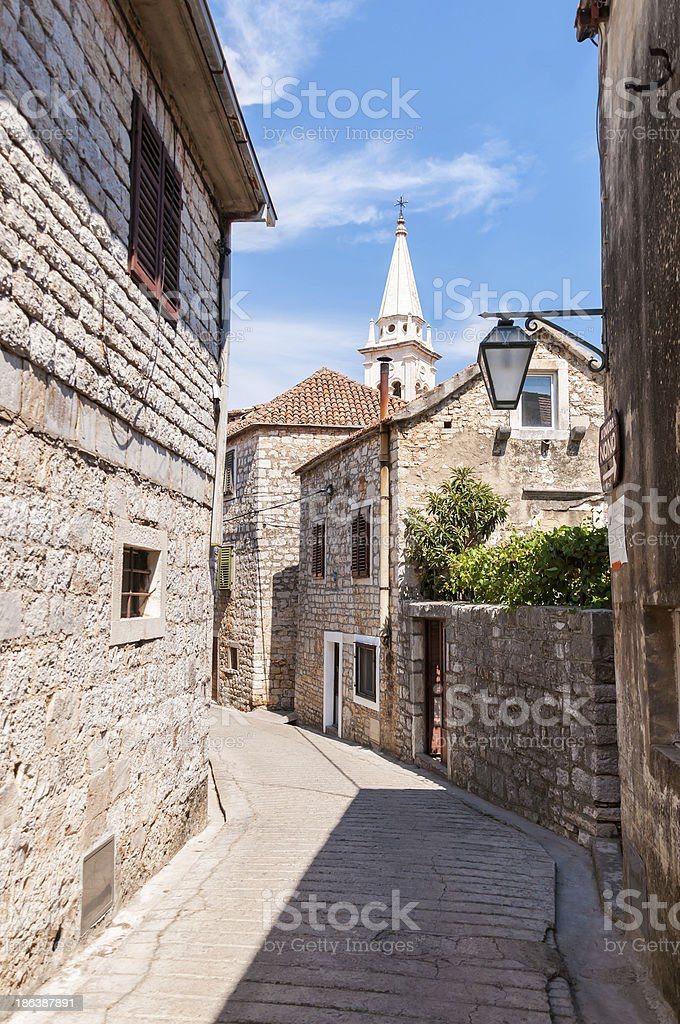 Street in town of Jelsa stock photo
