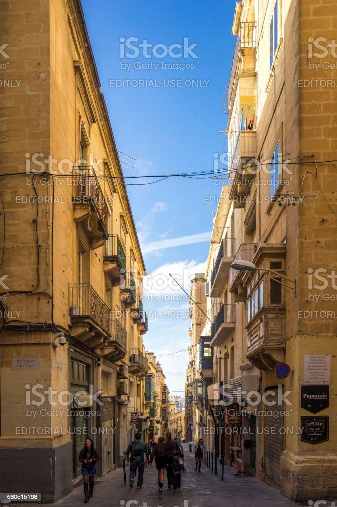 Street in Valletta, Capital City of Malta stock photo