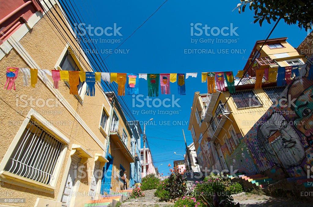 Street in Valparaiso Chile stock photo