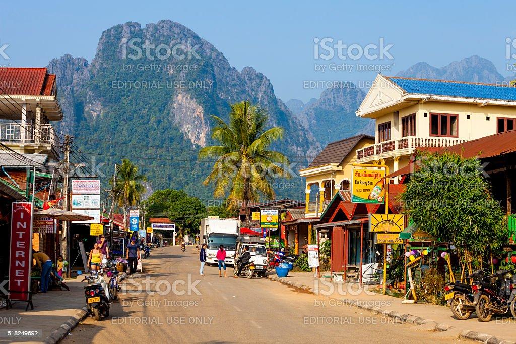 Street in Vang Vieng, Laos stock photo