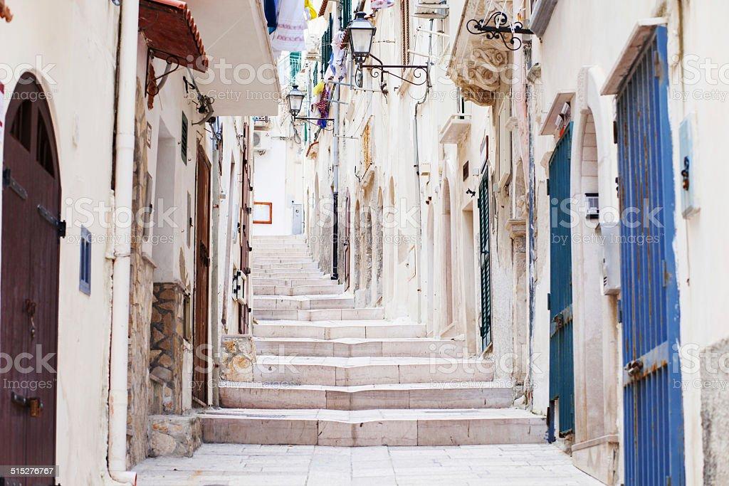 Street in Vieste, Italy stock photo