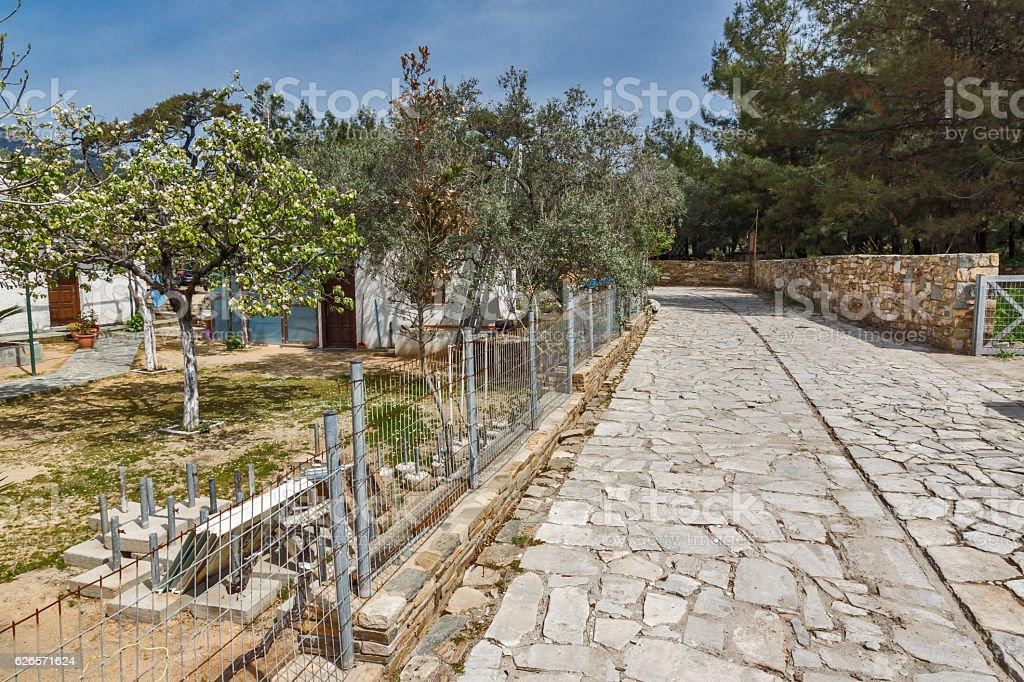 Street in  village of Aliki, Thassos island, Greece stock photo