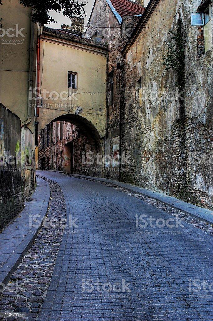 Street in Vilnius stock photo