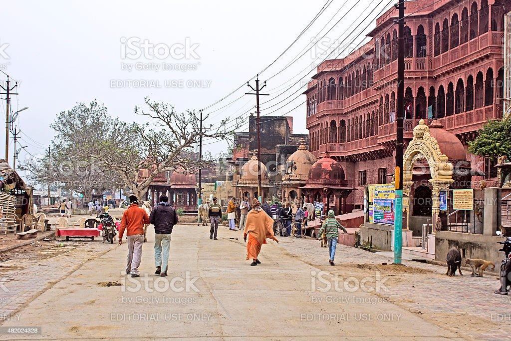 Street in Vrindavan stock photo