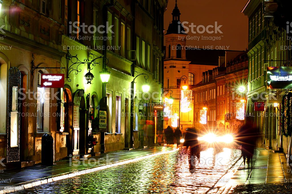 Street in Warsaw at night stock photo