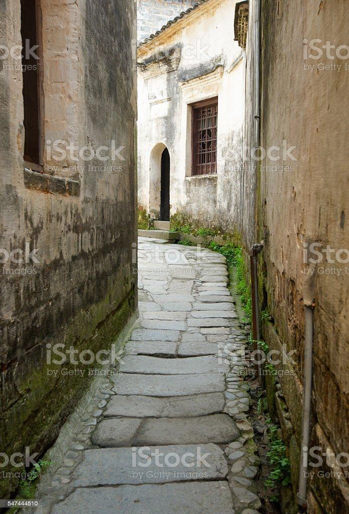 street in Xidi old town stock photo