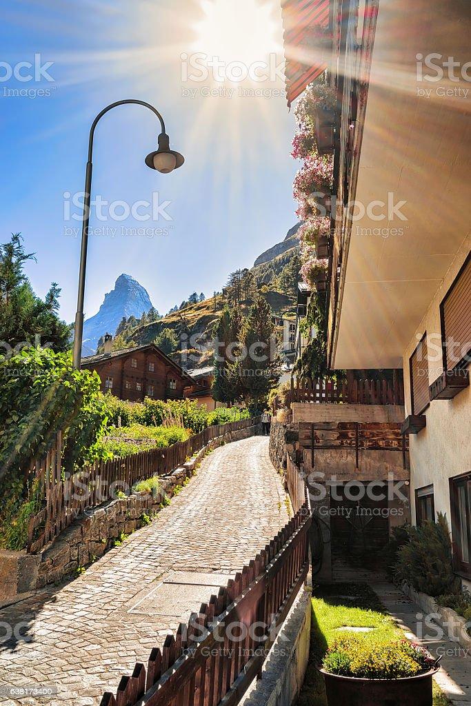 Street in Zermatt with Matterhorn mountain peak Swiss stock photo