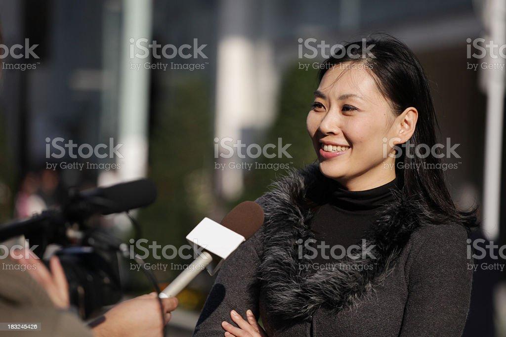 Street Interview in Tokyo stock photo