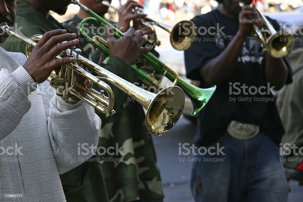 Street Jazz Band Trumpet Quartet stock photo