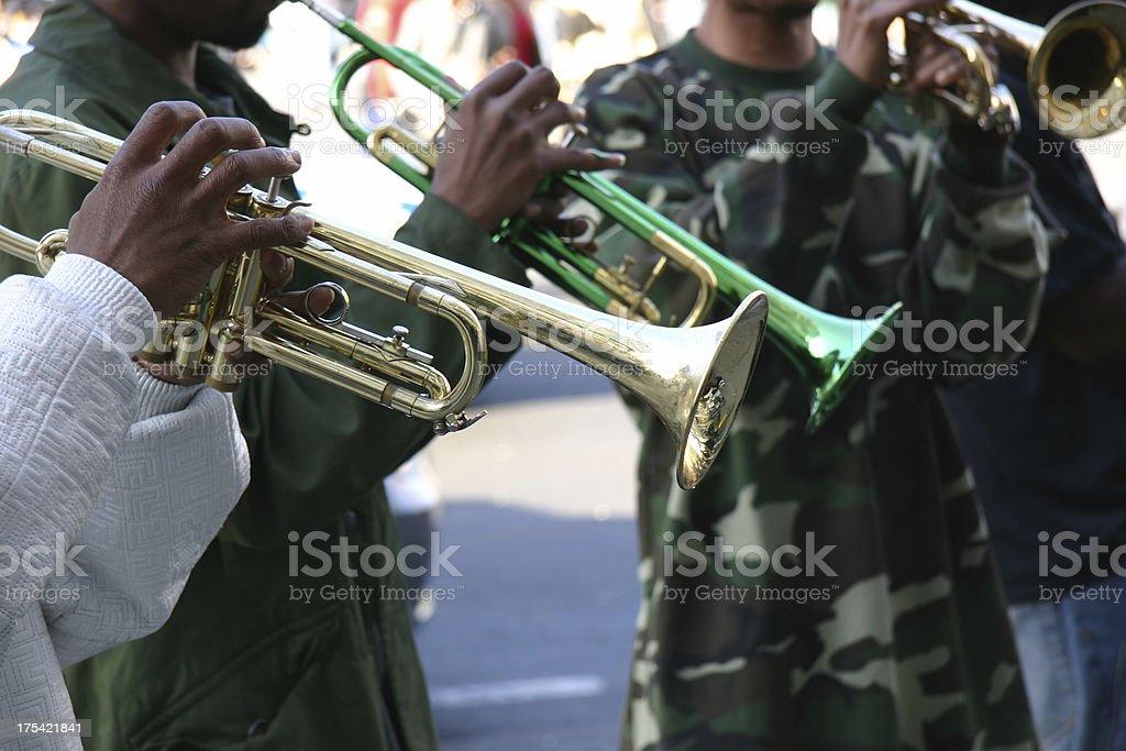 Street Jazz Band Trumpet Trio royalty-free stock photo